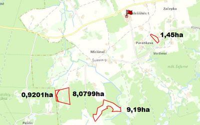 19,64 ha žemės ūkio paskirties sklypai Trakų raj. Onuškio sen. Alešiškių II, Miciūnų ir Parankavos k.