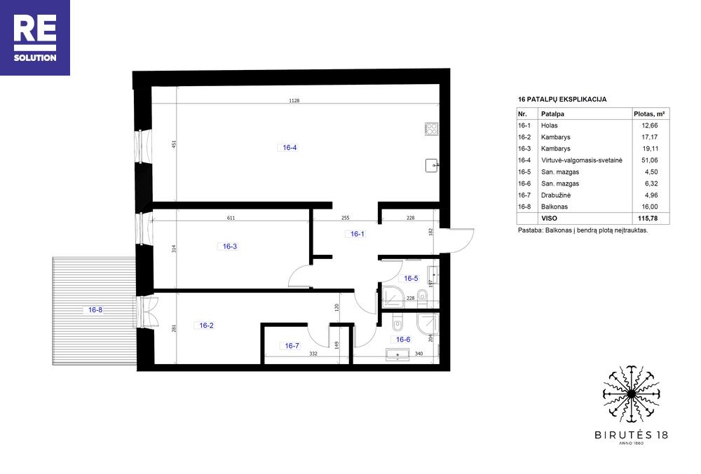 Parduodamas butas Birutės g., Žvėrynas, Vilniaus m., Vilniaus m. sav., 115.78 m2 ploto, 3 kambariai nuotrauka nr. 3