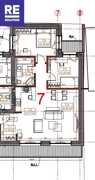 Parduodamas butas Labdarių g., Senamiestis, Vilniaus m., Vilniaus m. sav., 77.56 m2 ploto, 3 kambariai nuotrauka nr. 9