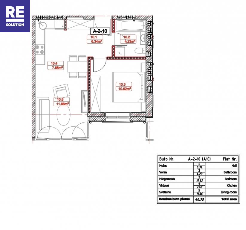 Parduodamas butas Labdarių g., Senamiestis, Vilniaus m., Vilniaus m. sav., 40.96 m2 ploto, 2 kambariai nuotrauka nr. 9