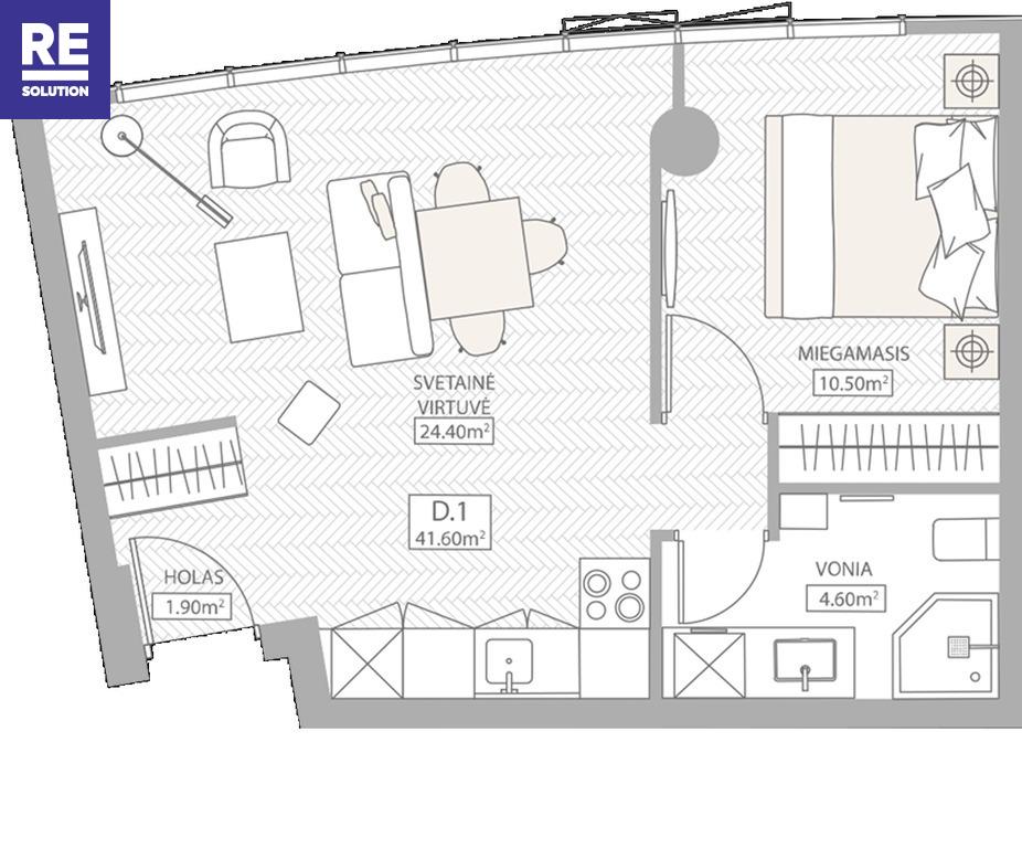 Parduodamas butas Konstitucijos pr., Šnipiškės, Vilniaus m., Vilniaus m. sav., 40.81 m2 ploto, 2 kambariai nuotrauka nr. 5