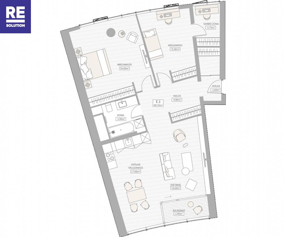 Parduodamas butas Konstitucijos pr., Šnipiškės, Vilniaus m., Vilniaus m. sav., 98.49 m2 ploto, 3 kambariai nuotrauka nr. 4