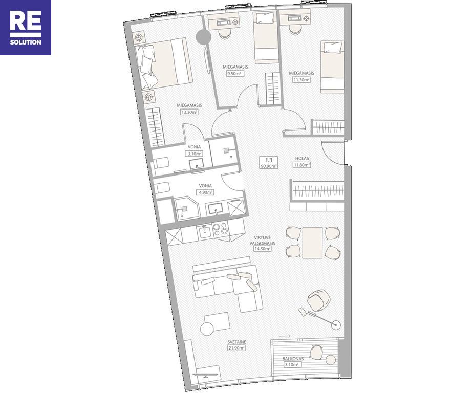 Parduodamas butas Konstitucijos pr., Šnipiškėse, Vilniuje, 88.85 kv.m ploto, 4 kambariai nuotrauka nr. 15
