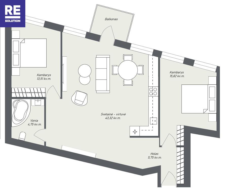Parduodamas butas J. Basanavičiaus g., Senamiestyje, Vilniuje, 83.15 kv.m ploto, 3 kambariai nuotrauka nr. 7