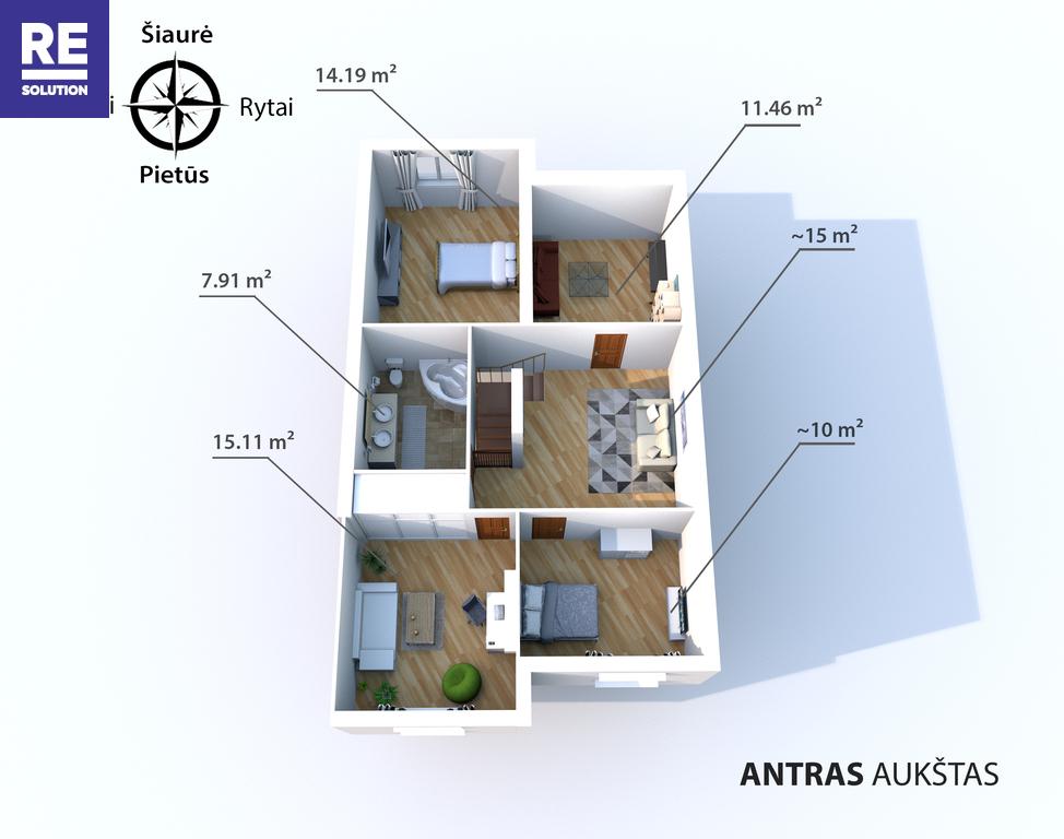 Parduodamas butas Medžiotojų g., Antakalnyje, Vilniuje, 127.36 kv.m ploto, 5 kambariai nuotrauka nr. 15