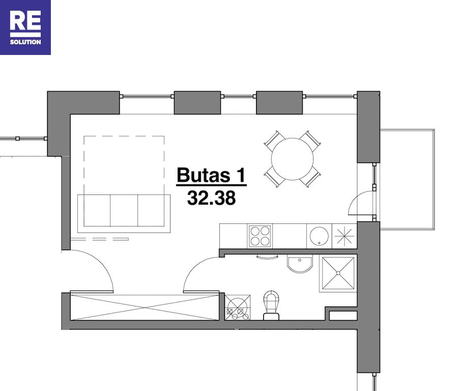 Parduodamas butas Kapsų g., Naujamiestyje, Vilniuje, 32.38 kv.m ploto, 1 kambariai nuotrauka nr. 14