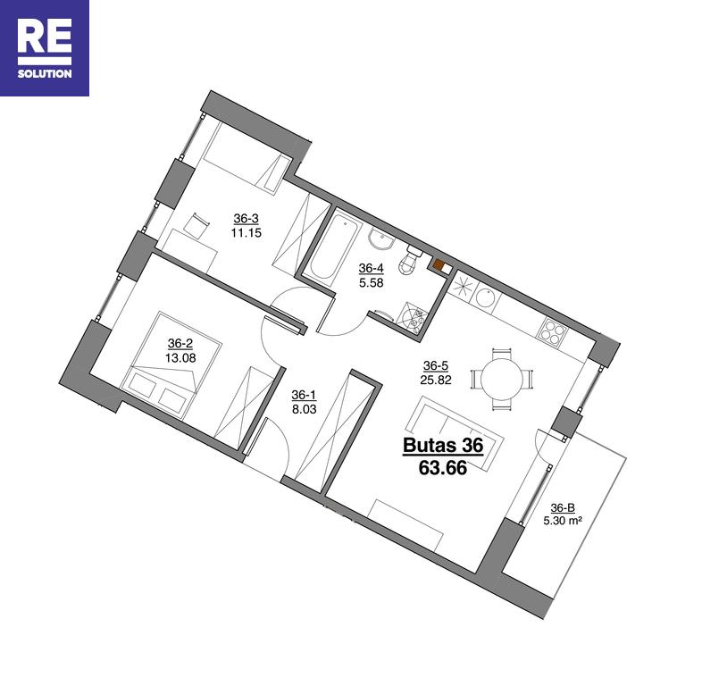 Parduodamas butas Kapsų g., Vilniuje, 3 kambariai nuotrauka nr. 13