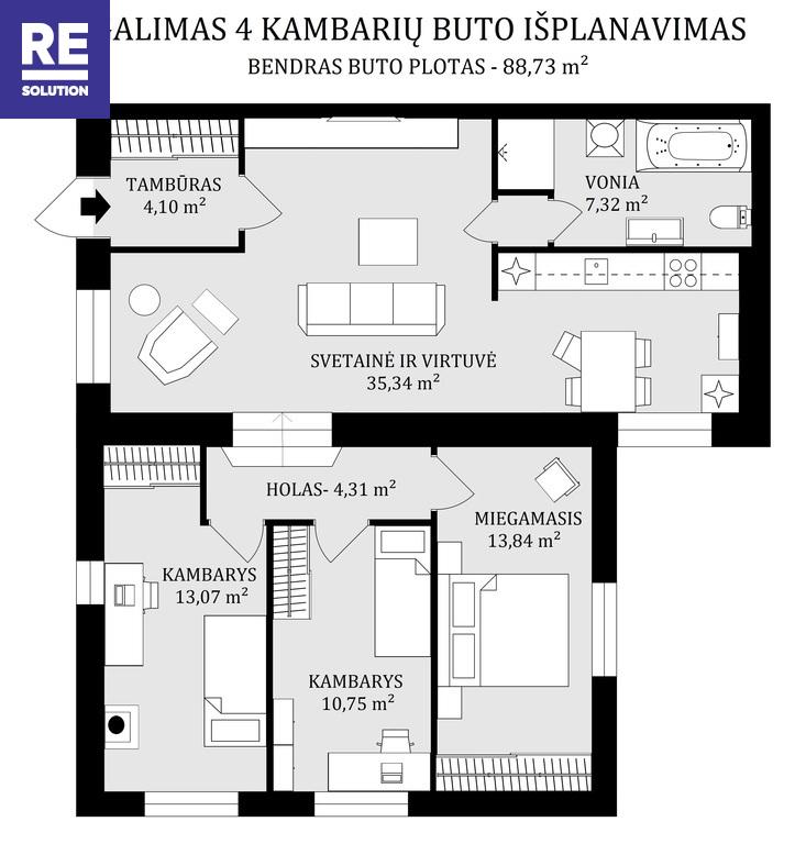 Parduodamas butas Turniškių g., Turniškėse, Vilniuje, 88.73 kv.m ploto, 3 kambariai nuotrauka nr. 13