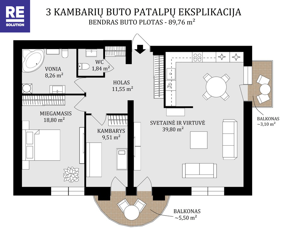 Parduodamas butas Aguonų g., Senamiestyje, Vilniuje, 89.76 kv.m ploto, 3 kambariai nuotrauka nr. 23