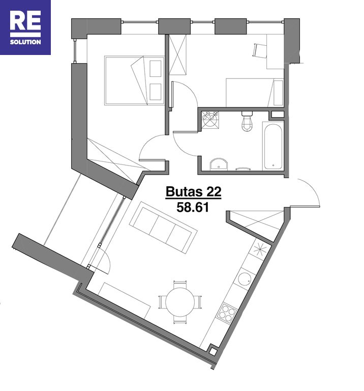 Parduodamas butas Kapsų g., Naujininkuose, Vilniuje, 58.61 kv.m ploto, 3 kambariai nuotrauka nr. 12