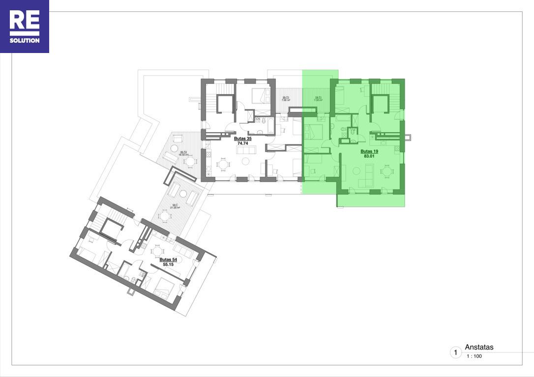 Parduodamas butas Kapsų g., Naujininkuose, Vilniuje, 83.01 kv.m ploto, 4 kambariai nuotrauka nr. 13