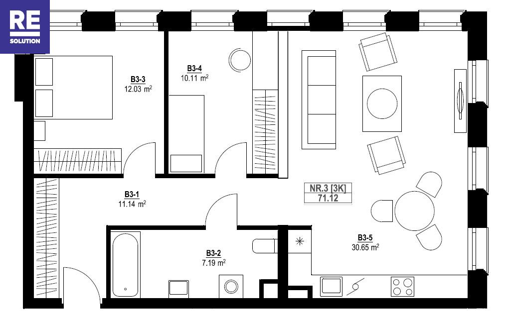 Parduodamas butas Vytauto g., Žvėryne, Vilniuje, 71.23 kv.m ploto, 3 kambariai nuotrauka nr. 3