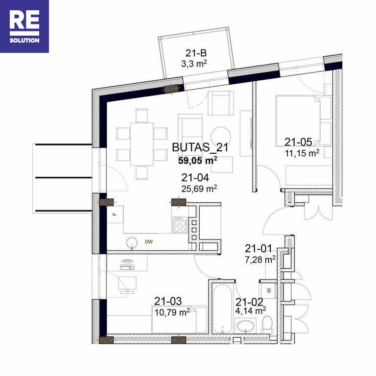 Parduodamas butas Peteliškių g., Filaretai, Vilniaus m., Vilniaus m. sav., 37.77 m2 ploto, 2 kambariai nuotrauka nr. 14