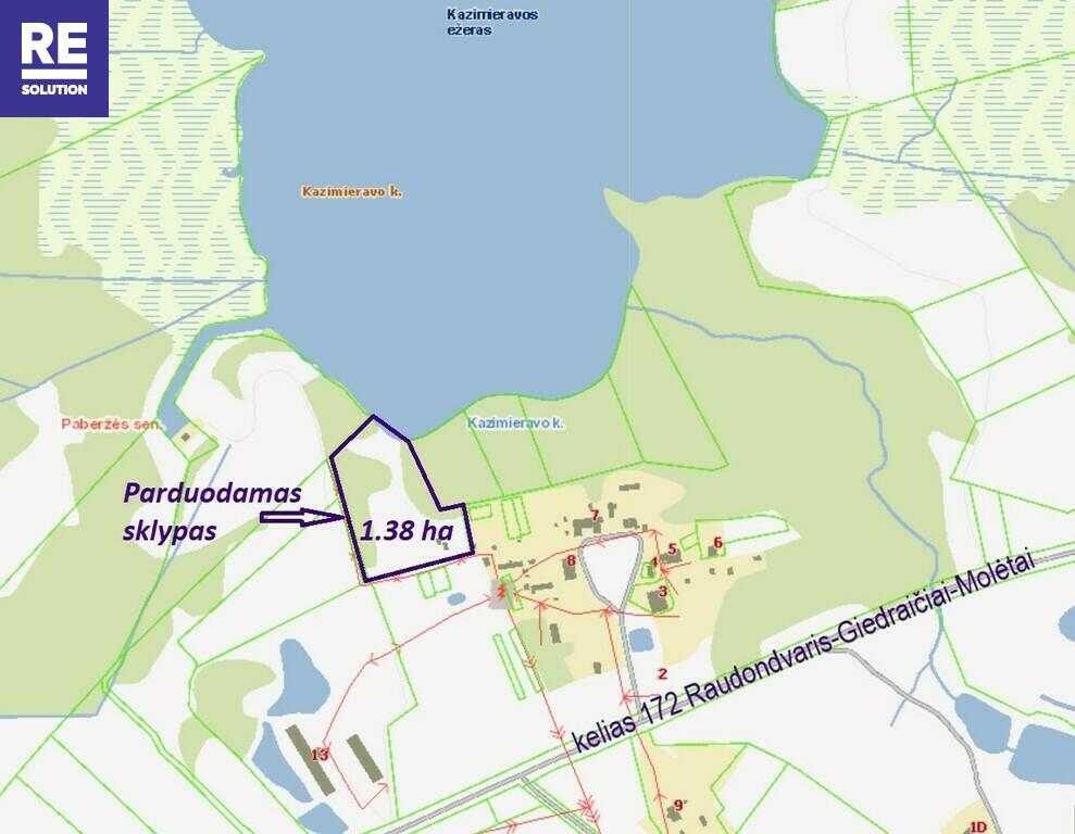 Parduodamas žemės ūkio paskirties sklypas Sodų g., Paberžės k., Vilniaus r. sav., 138 a ploto nuotrauka nr. 5