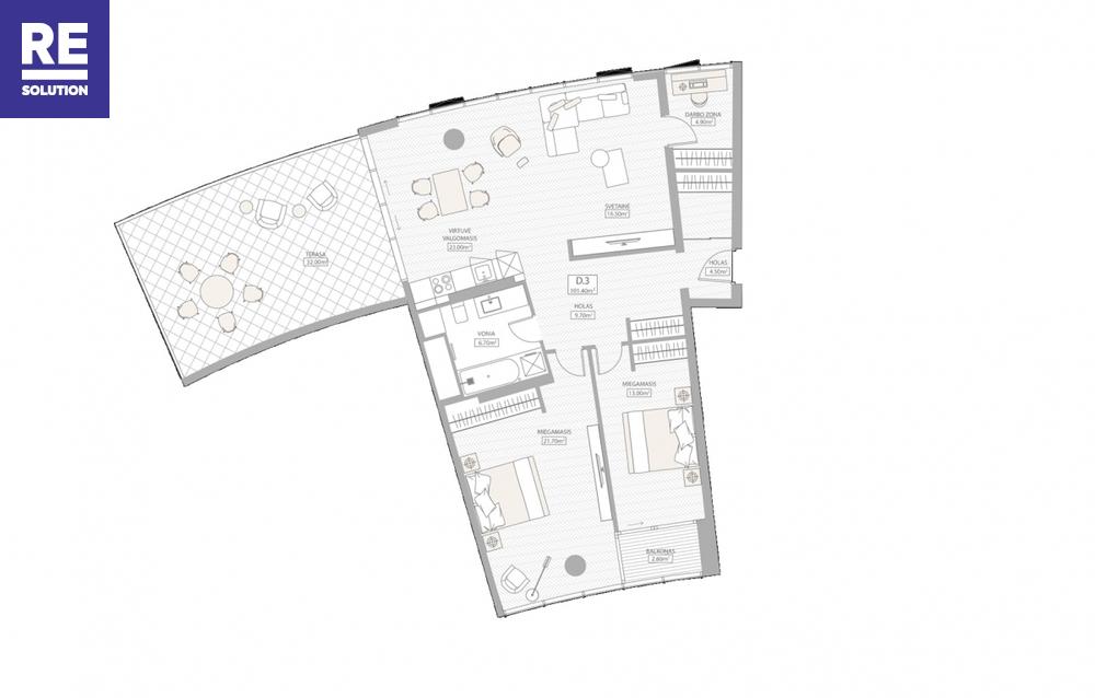 Parduodamas butas Konstitucijos pr., Šnipiškės, Vilniaus m., Vilniaus m. sav., 100.04 m2 ploto, 3 kambariai nuotrauka nr. 2