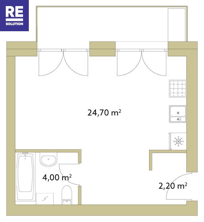 Parduodamas butas Polocko g., Užupis, Vilniaus m., Vilniaus m. sav., 30.90 m2 ploto, 1 kambarys nuotrauka nr. 7