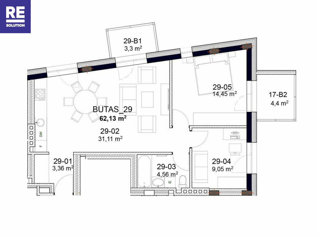 Parduodamas butas Peteliškių g., Užupis, Vilniaus m., Vilniaus m. sav., 61.73 m2 ploto, 3 kambariai nuotrauka nr. 14