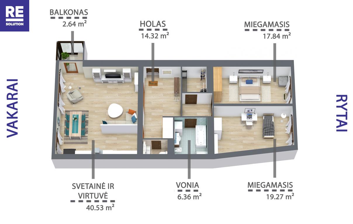 Parduodamas butas Mindaugo g., Senamiestyje, Vilniuje, 110.22 kv.m ploto, 3 kambariai nuotrauka nr. 17