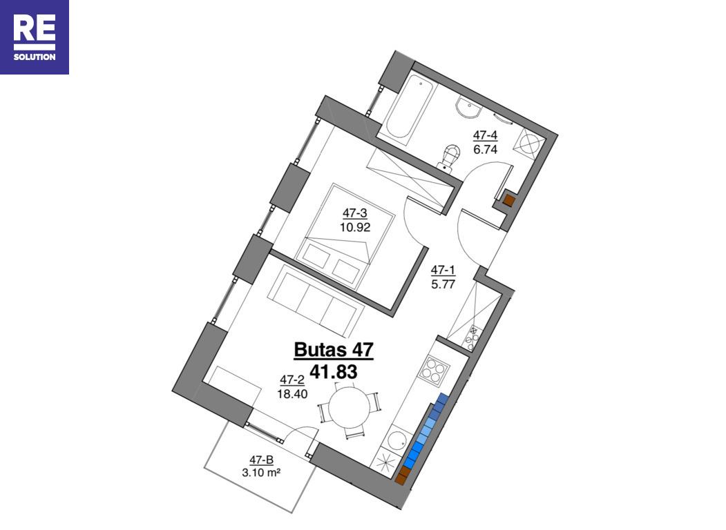 Parduodamas butas Kapsų g., Naujininkuose, Vilniuje, 41.83 kv.m ploto, 2 kambariai nuotrauka nr. 3