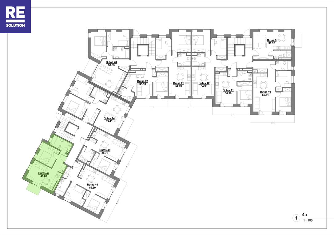 Parduodamas butas Kapsų g., Naujininkuose, Vilniuje, 41.83 kv.m ploto, 2 kambariai nuotrauka nr. 4