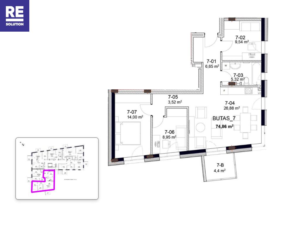 Parduodamas butas Peteliškių g., Užupis, Vilniaus m., Vilniaus m. sav., 74.86 m2 ploto, 4 kambariai nuotrauka nr. 23