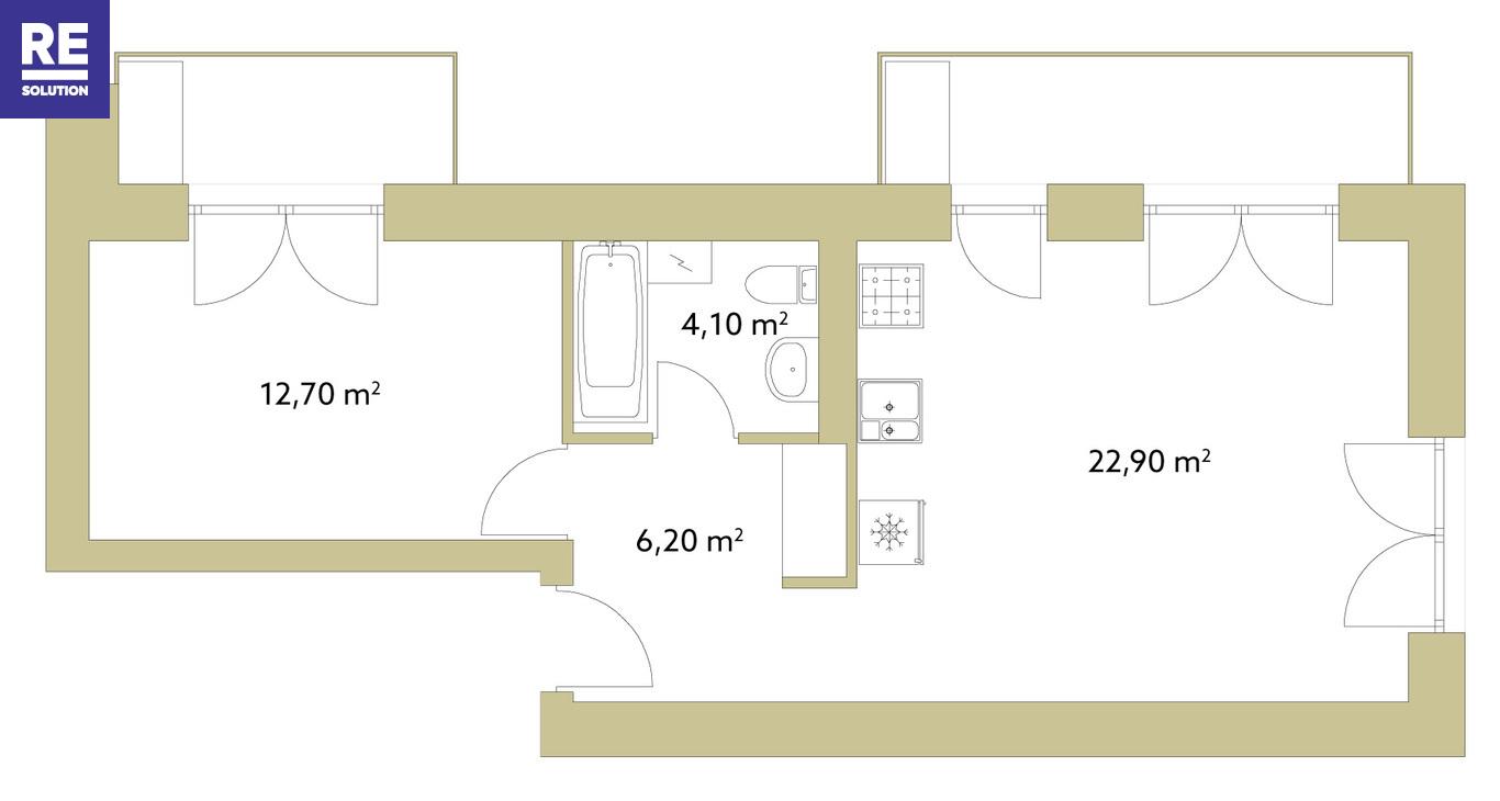 Parduodamas butas Olandų g., Užupis, Vilniaus m., Vilniaus m. sav., 46 m2 ploto, 2 kambariai nuotrauka nr. 6