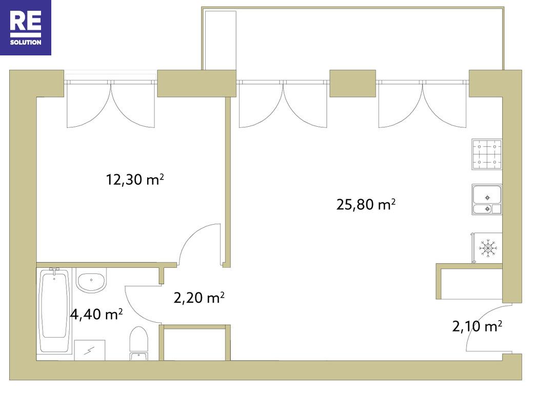 Parduodamas butas Olandų g., Užupis, Vilniaus m., Vilniaus m. sav., 46.8 m2 ploto, 2 kambariai nuotrauka nr. 7