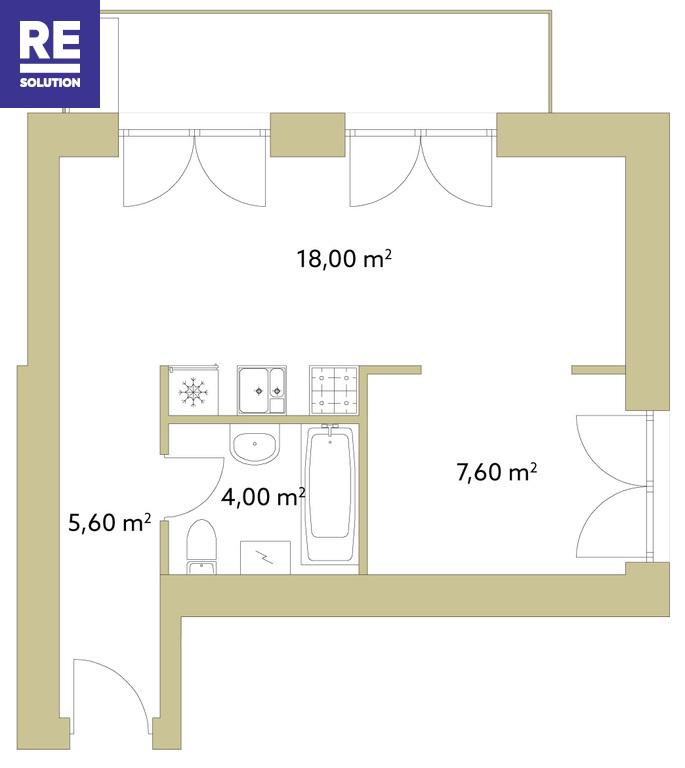 Parduodamas butas Olandų g., Užupis, Vilniaus m., Vilniaus m. sav., 35.2 m2 ploto, 2 kambariai nuotrauka nr. 4