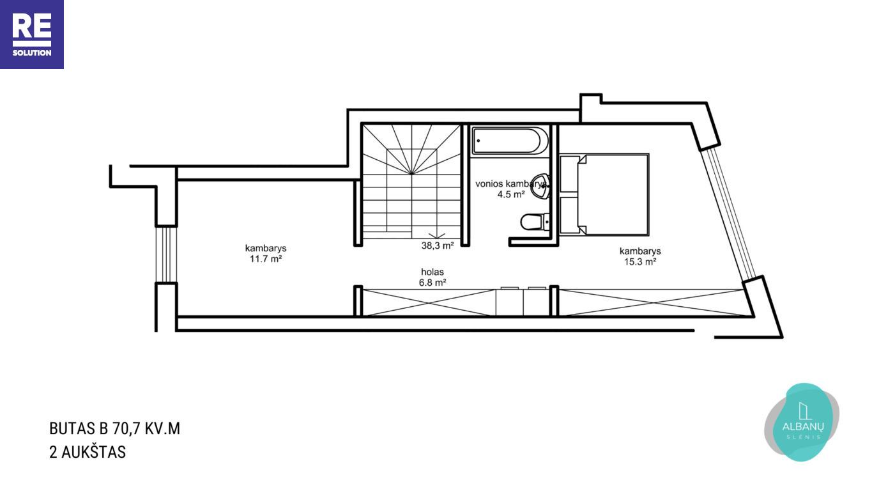 Parduodamas namas Albanų g., Kalnėnuose, Vilniuje, 70.7 m² ploto nuotrauka nr. 16
