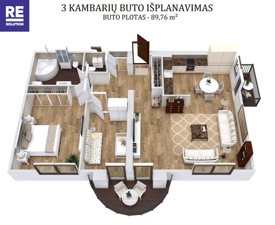 Nuomojamas butas Aguonų g., Senamiestyje, Vilniuje, 89.76 kv.m ploto, 3 kambariai nuotrauka nr. 23