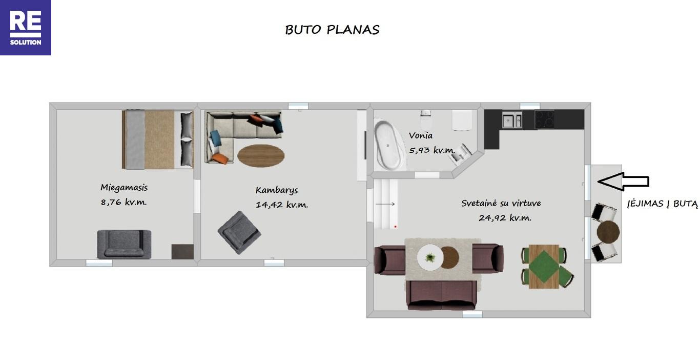 Nuomojamas butas Naugarduko g., Naujamiestyje, Vilniuje, 54 kv.m ploto nuotrauka nr. 13
