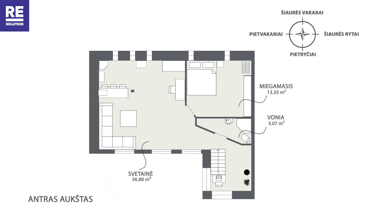 Parduodamas 4 kambarių butas tribučiame name Šeimyniškių g. nuotrauka nr. 19