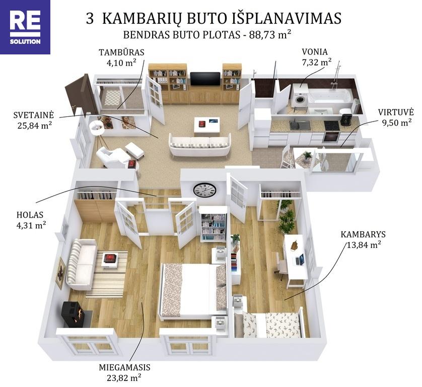 Parduodamas 3-jų kambarių butas su nuosavu kiemu ir atskiru įėjimu Turniškėse, 89 kv.m ploto nuotrauka nr. 16