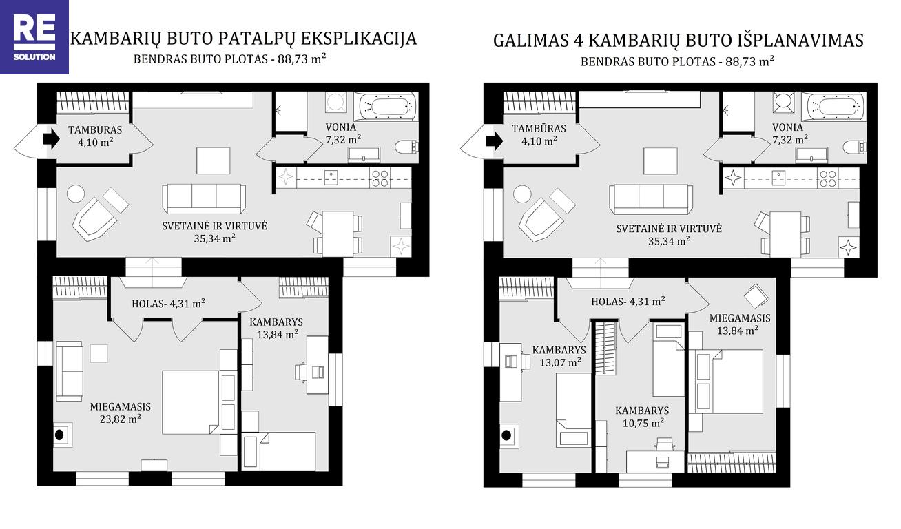 Parduodamas 3-jų kambarių butas su nuosavu kiemu ir atskiru įėjimu Turniškėse, 89 kv.m ploto nuotrauka nr. 17