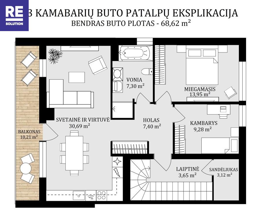 Parduodamas butas Žirgo g., Antakalnyje, Vilniuje, 70 kv.m ploto nuotrauka nr. 4