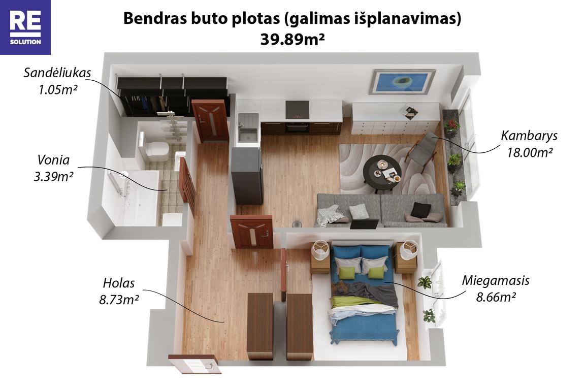 Parduodamas 1 kambario butas Fabijoniškėse, Vilniuje, 40 kv.m ploto nuotrauka nr. 19