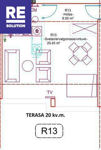 Parduodamas butas Preilos g., Neringos m., Neringos sav., 34.15 m2 ploto, 1 kambariai nuotrauka nr. 7