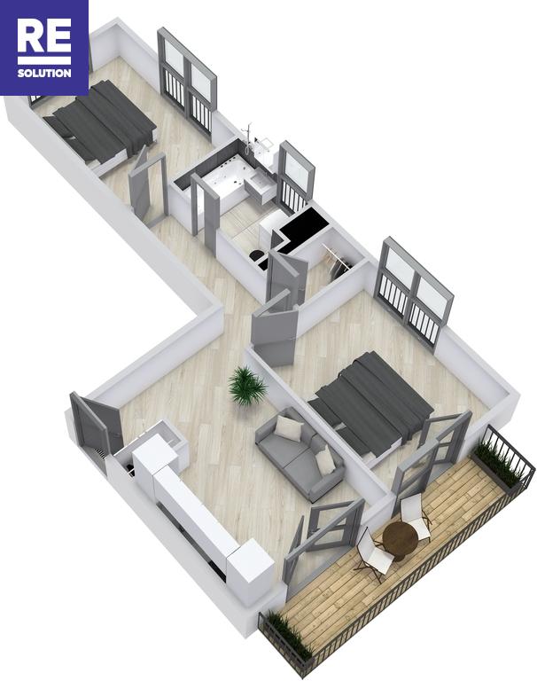 Parduodamas 3 kambarių butas Užupyje nuotrauka nr. 2