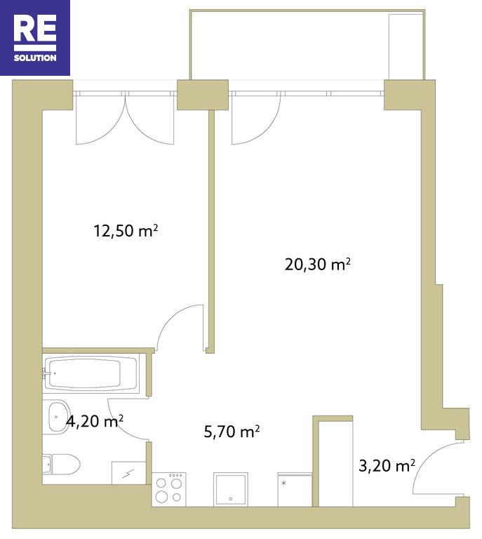 Parduodamas 2 kambarių Užupyje nuotrauka nr. 3