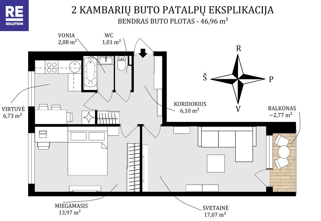 Parduodamas jaukus, šiltas, prižiūrėtas ir mylėtas 2 kambarių butas Tuskulėnų g. nuotrauka nr. 20