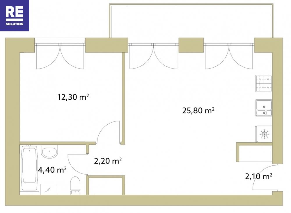 Parduodamas butas Polocko., Užupis, Vilniaus m., Vilniaus m. sav., 46.8 m2 ploto, 2 kambariai nuotrauka nr. 3