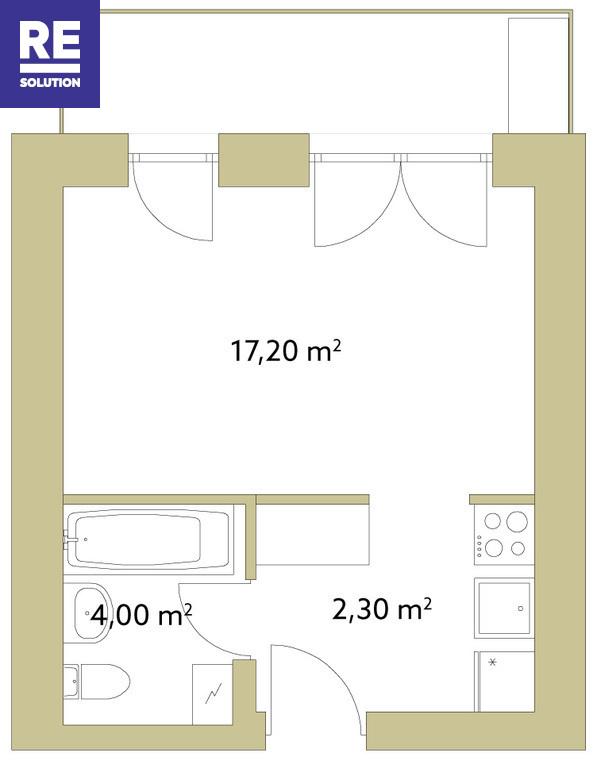 Parduodamas butas Polocko g., Užupis, Vilniaus m., Vilniaus m. sav., 23.5 m2 ploto, 1 kambariai nuotrauka nr. 3