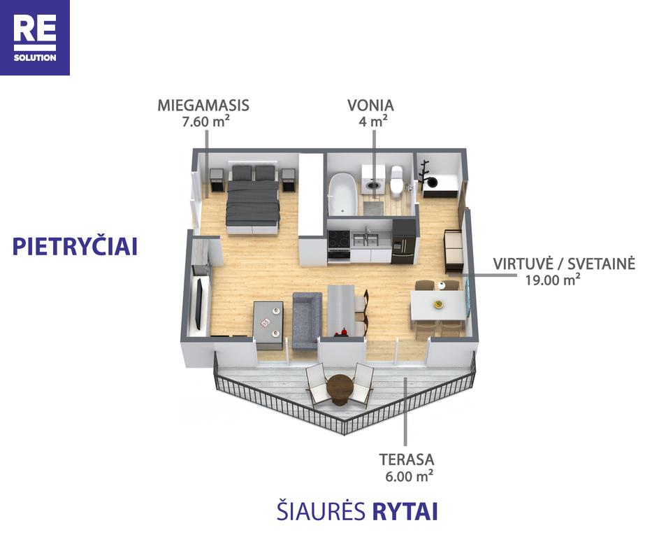 Parduodamas butas Polocko g., Užupis, Vilniaus m., Vilniaus m. sav., 33.3 m2 ploto, 2 kambariai nuotrauka nr. 2