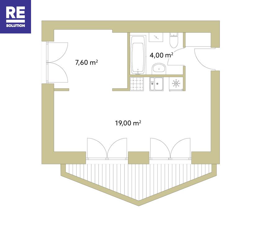 Parduodamas butas Polocko g., Užupis, Vilniaus m., Vilniaus m. sav., 33.3 m2 ploto, 2 kambariai nuotrauka nr. 3