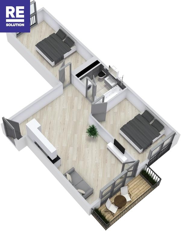 Parduodamas butas Polocko g., Užupis, Vilniaus m., Vilniaus m. sav., 61 m2 ploto, 3 kambariai nuotrauka nr. 2