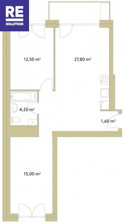 Parduodamas butas Polocko g., Užupis, Vilniaus m., Vilniaus m. sav., 61 m2 ploto, 3 kambariai nuotrauka nr. 3