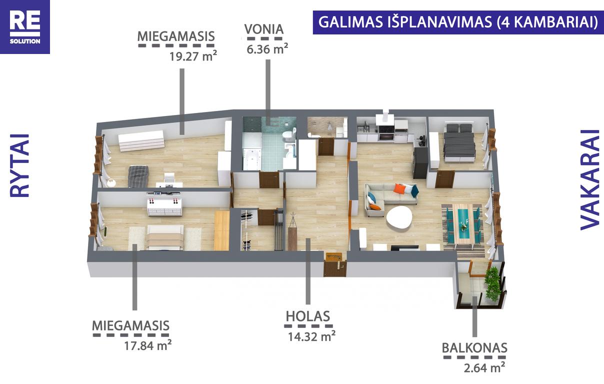 Parduodamas butas Mindaugo g., Senamiestyje, Vilniuje, 110.22 kv.m ploto, 3 kambariai nuotrauka nr. 16