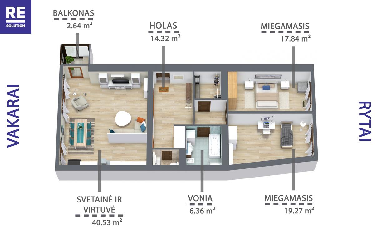 Parduodamas butas Mindaugo g., Senamiestyje, Vilniuje, 110.22 kv.m ploto, 4 kambariai nuotrauka nr. 15