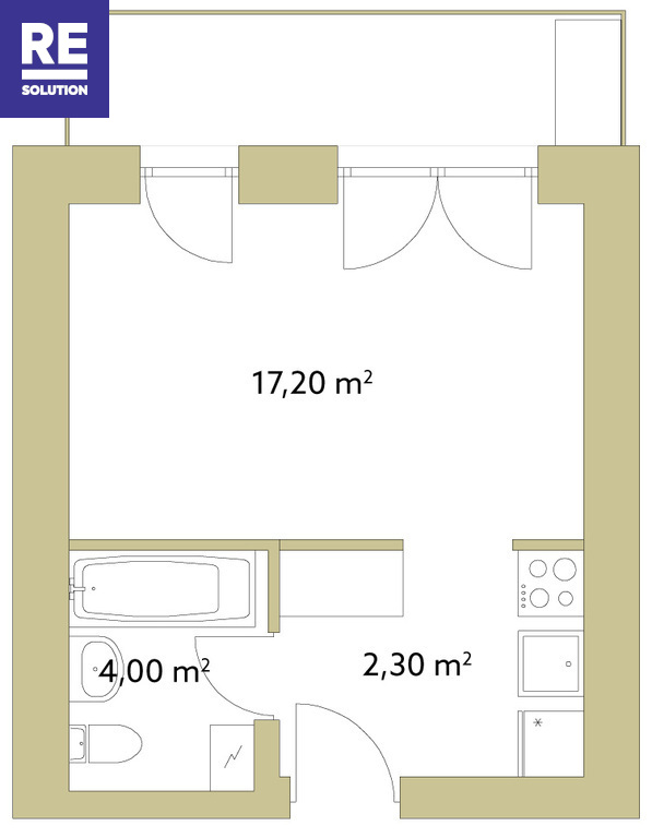 Parduodamas butas Polocko g., Užupyje, Vilniuje, 23.5 kv.m ploto nuotrauka nr. 6