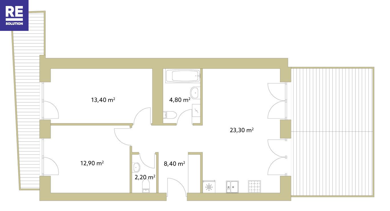 Parduodamas butas Polocko g., Užupyje, Vilniuje, 65 kv.m ploto nuotrauka nr. 5